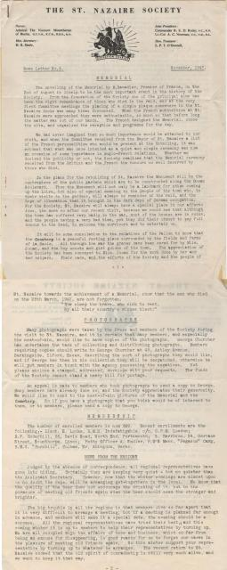 St Nazaire Society Newsletter 4 dated 1947
