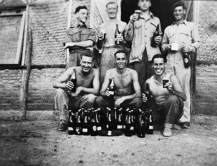 No 5 Commando enjoy a beer or two...