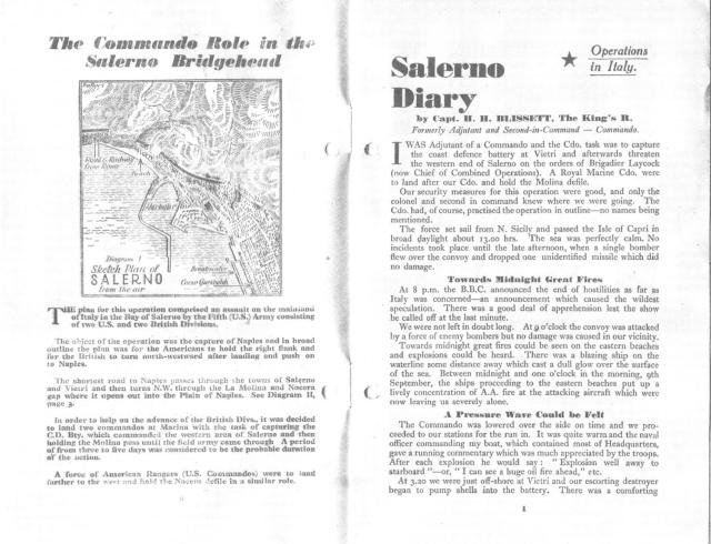 Salerno Diary - inside cover and diagram 1 and page 1