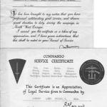 Commando Service Certificate and commendation for L/Cpl. Stanley Swinson