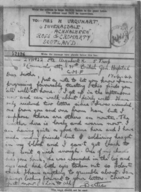 A letter from Pte Robert Rose Urquhart to his mother after he had been injured