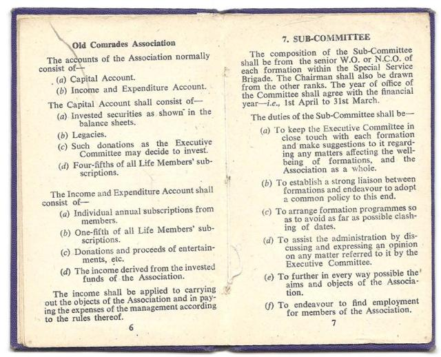 Constitution of the Old Comrades Association of the Special Service Brigade - page 6/7