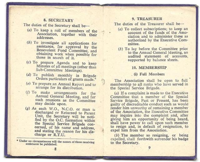 Constitution of the Old Comrades Association of the Special Service Brigade - page 8/9