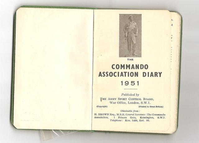 Inside cover of the 1951 Commando Association Diary.