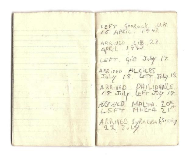 An entry in the personal diary of Victor 'Dusty' Miller of No.2 Cdo.