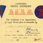 Commando Service Certificate for Sgt. Joe Rogers MM