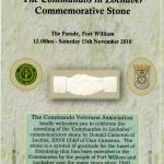 Order of service for the unveiling of the Commandos in Lochaber commemorative stone