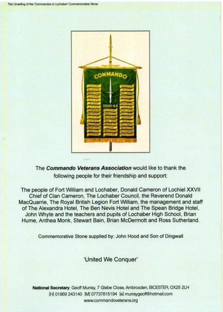 Order of Service - rear cover