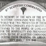 Plaque in honour of  No. 11 Commando at Lamlash Church, Isle of Arran