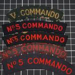 No.5 Commando shoulder titles both woven and printed designs
