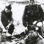 Martien van Barneveld, Hans Cramer, and another.  Port Madoc 1943.