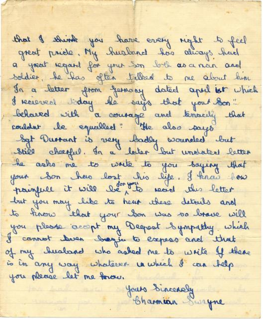 Letter (page 2) from Mrs Swayne wife of Lieut. Ronnie Swayne MC