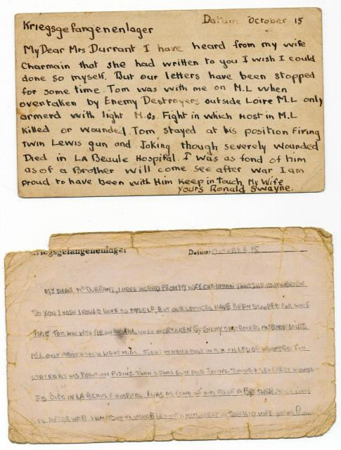 Letter from Lieut. Ronnie Swayne to Mrs Durrant from his POW camp dated 15 October 1942