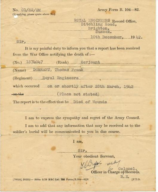 Official confirmation of Tom's death dated 10th December 1942