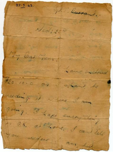 Tom's last letter to his Mother dated 25th March 1942 ( p1 )