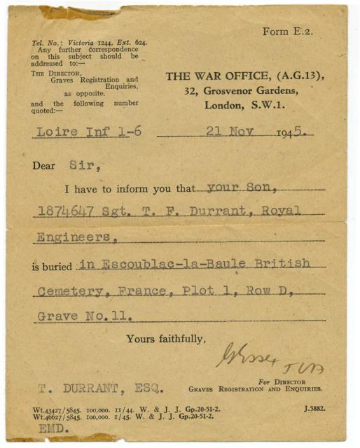 Burial Notice dated 21st July 1945