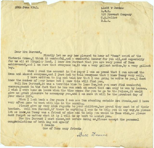 Letter from Lieut Devine