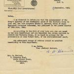 War Office letter regarding the Victoria Cross