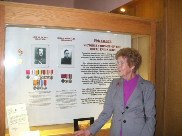 Tom's sister Ivy at the Royal Engineers Victoria Cross exhibition 2010