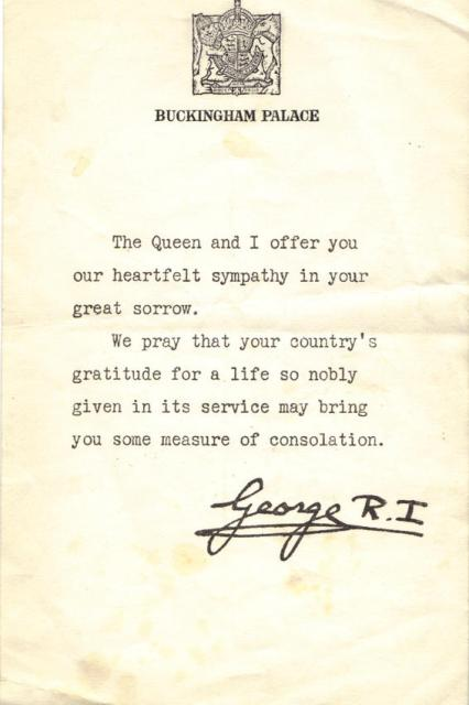 The King's message to the family of Pte. Robert Ong.