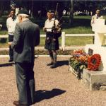 Bill Millin and others at Amfreville War Cemetery