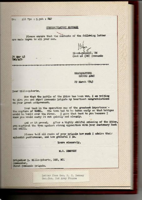 1 Commando Brigade Commendation 29th March 1945