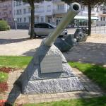 One of the gun barrels from HMS Campbeltown in St Nazaire