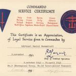 Commando Service Certificate for Daniel Rommetvedt