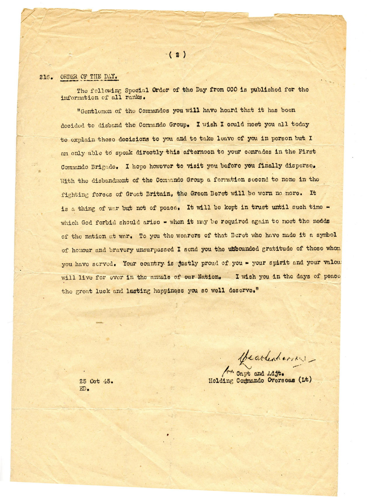Holding Commando Overseas Special Order of the day dated 25 Oct.45