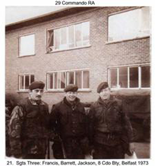 Sgt's Francis, Barrett and Harry Jackson, 8 Bty Belfast 1973