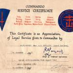 Commando Service Certificate for George Phillips