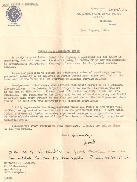 Letter from Lord Lovat to Captain Rooney re the future of 12 Commando