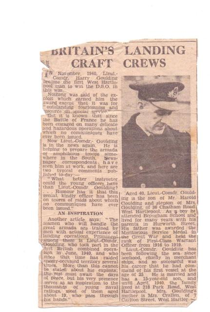 Newspaper article and photo about Lieut. Cmdr. Harold Goulding DSO RNR