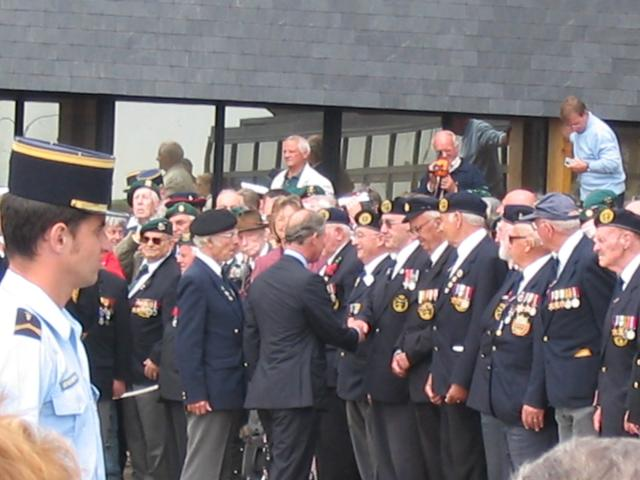 HRH Prince Charles greeting the Veterans