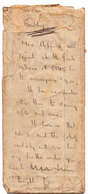 Handwritten note from Laycock to Cmdr. Goulding