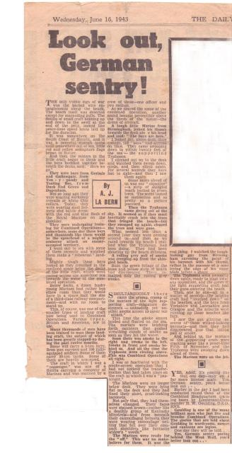"Newspaper article titled ""Lookout German sentry"" dated June 16th 1943"