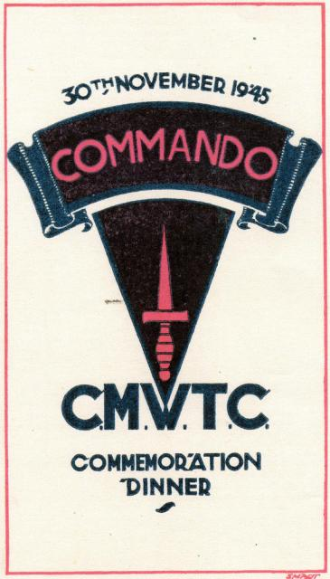 Front cover of the CMWTC Commemorative Dinner booklet 30Nov 1945.