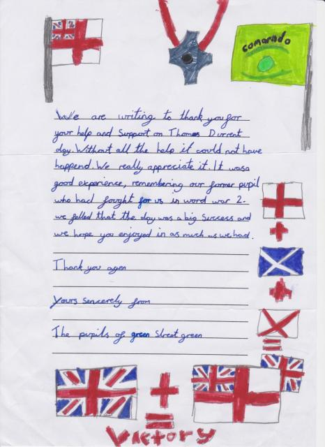 Letter of thanks from pupils after the event for Tom Durrant VC