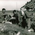 Jack Rawlinson (centre) and others - Sarande Oct'44