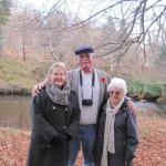 Kevin, Bob and Janet Bishop on the bank of the River Arkaig