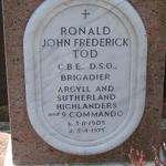 Headstone of Brigadier Ronald John Frederick Tod C.B.E, D.S.O. and Bar of No9 Commando