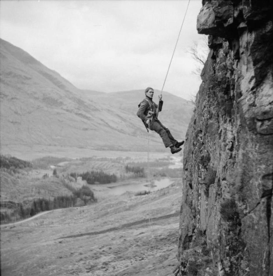 Commando from  No.1 Cdo. abseiling training Glencoe