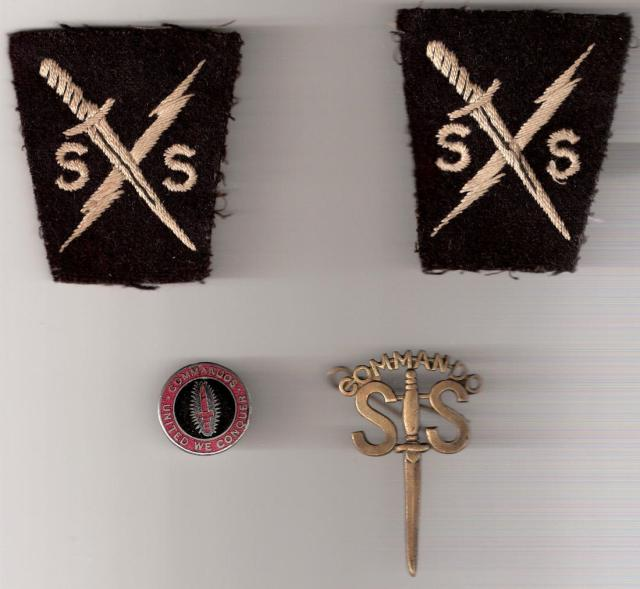 Special Service insignia and Commando Assoc. badges of Roy Lewis