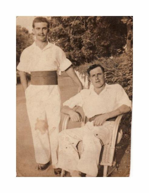 Hugh Maines (seated) and friend in Burma/India