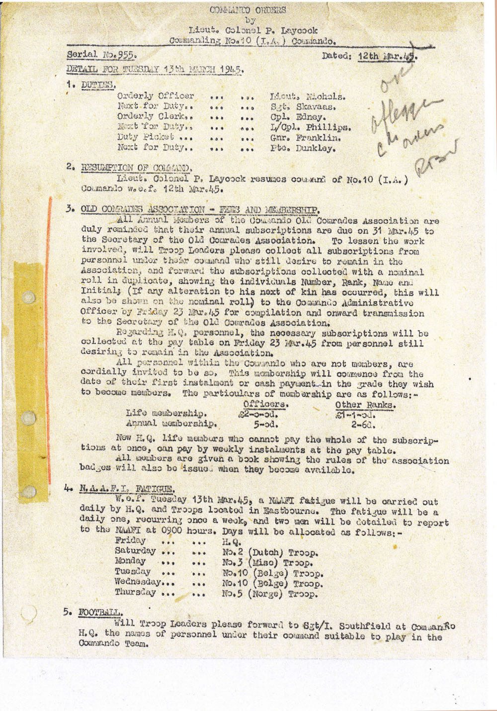 No.10IA Commando Orders by Lt. Col. Laycock - 12 March 1945