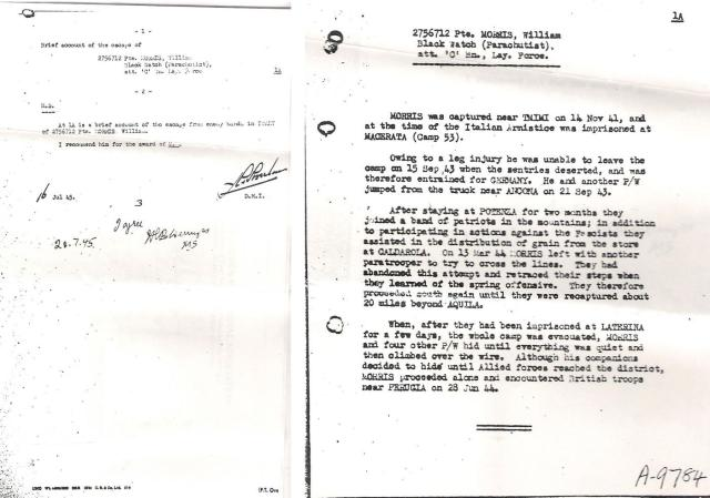 Recommendation and approval for the Military Medal for Pte. William Morris