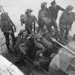 Troops from No. 3 Commando arriving back at Newhaven after Dieppe