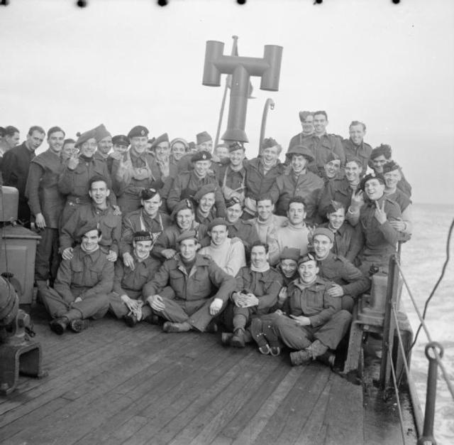 No. 3 Commando on board HMS Prince Leopold during the voyage home from Vaagso.