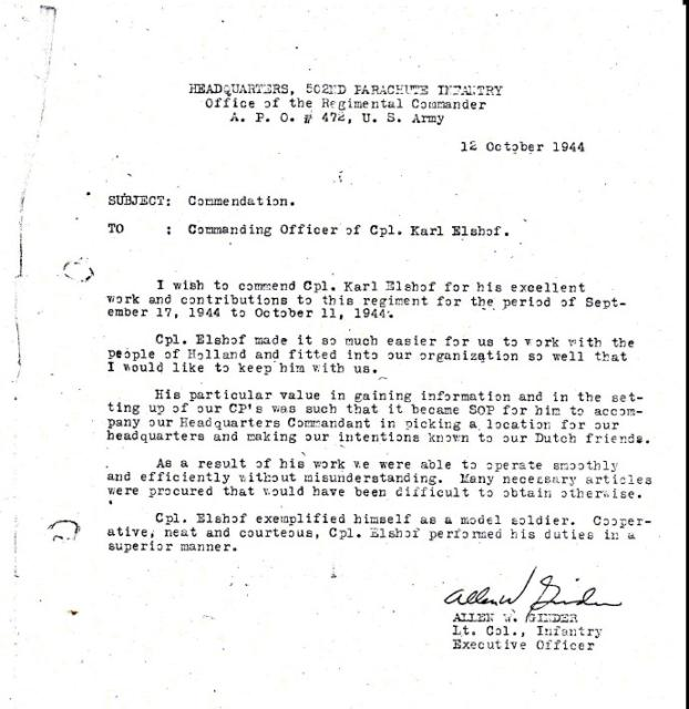 Letter of commendation for Sgt Karel Elshof 10IA Cdo 2 'Dutch' troop