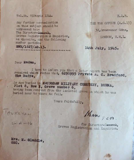 Letter re Pte Alan Bradford No 5 Commando burial